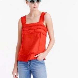 J. Crew Orange Fringe Tank Blouse